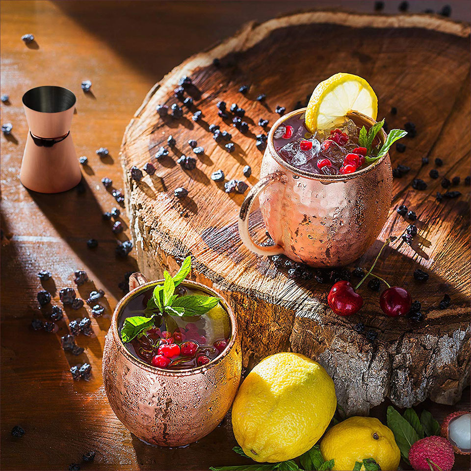 Kupferbecher – hier das Modell von Wellead – eignen sich auch für andere erfrischende Cocktails (Foto: Amazon)